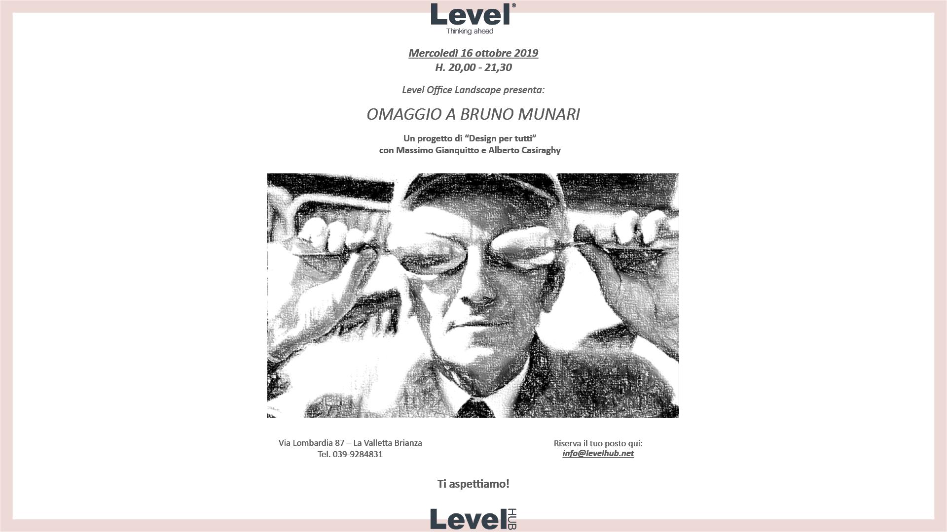 Design Per Tutti Com omaggio a bruno munari, a levelhub's event | level office