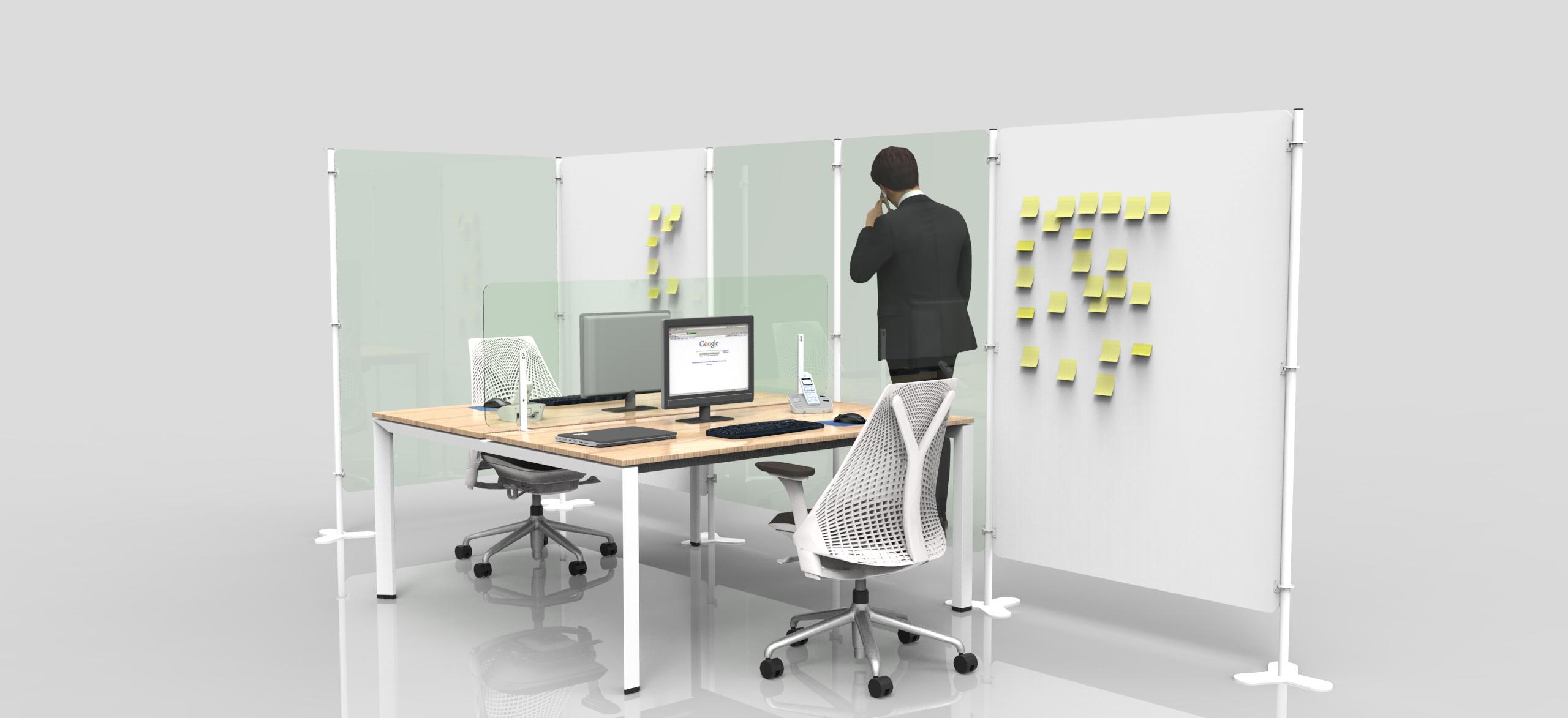 Riflesso screen di separazione ufficio contro coronavirus Level Office Landscape