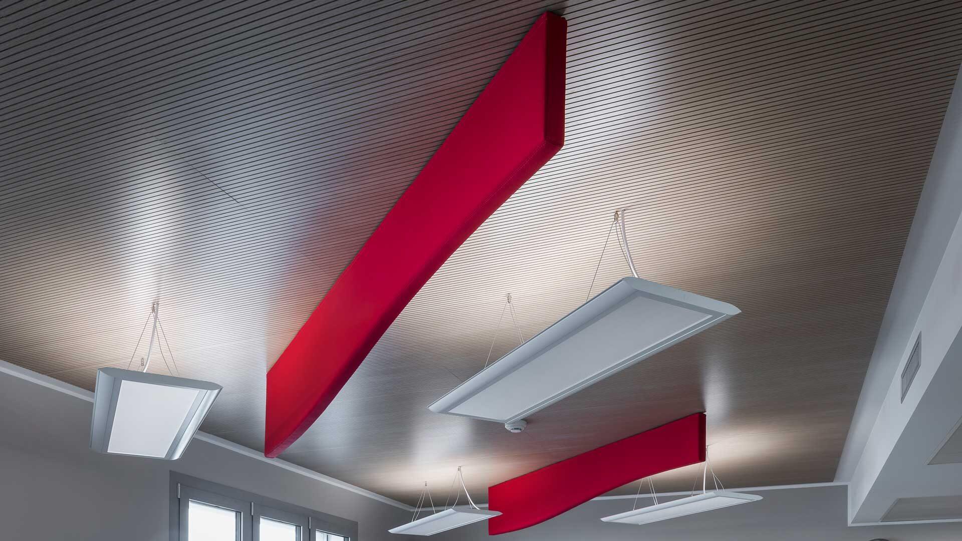 Materiali-per-l'ufficio-Feltro-controsoffitti-baffles-Level-Office-Landscape